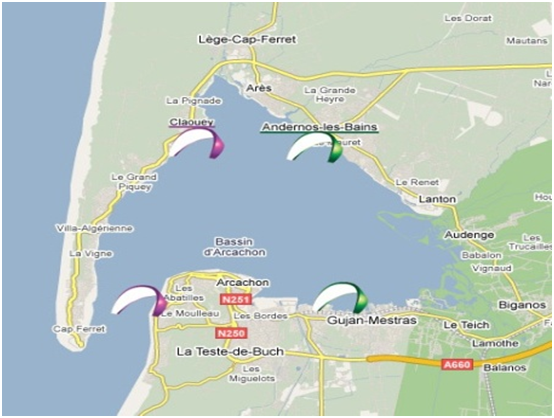 Les sites de pratique du Bassin d'Arcachon